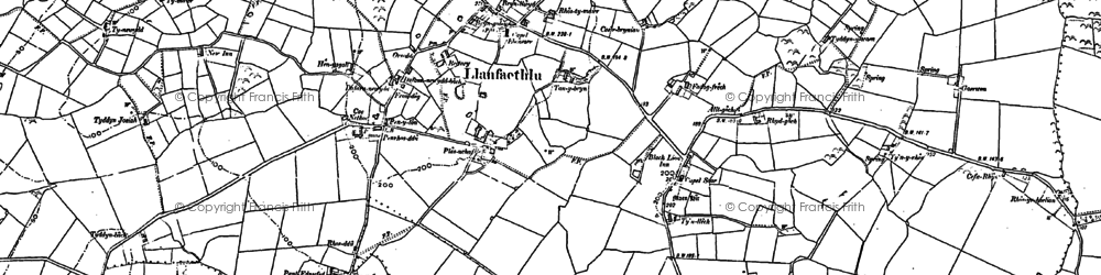 Old map of Llanfaethlu in 1886
