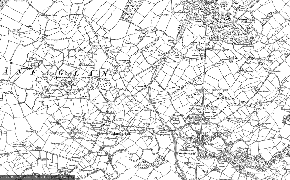 Old Map of Historic Map covering Afon Gwyrfai in 1899