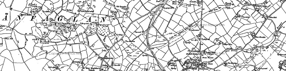 Old map of Abermenai Point in 1899
