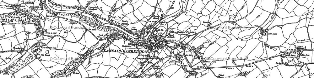 Old map of Llanfair Caereinion in 1885