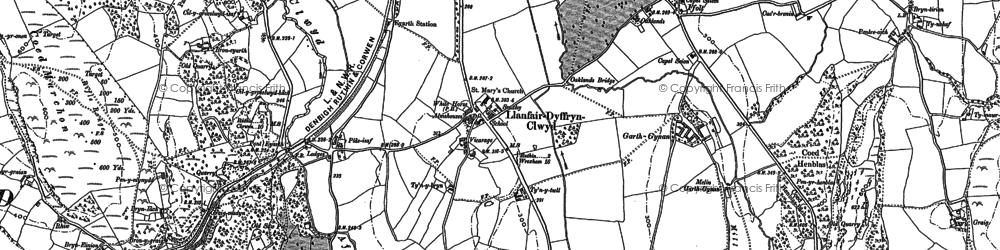 Old map of Llanfair Dyffryn Clwyd in 1899