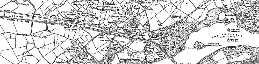 Old map of Llanfair Pwllgwyngyll in 1899