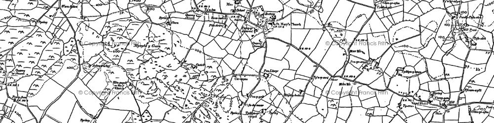 Old map of Ynys y Fydlyn in 1899