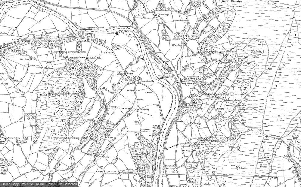 Old Map of Historic Map covering Aberedw Hill in 1887