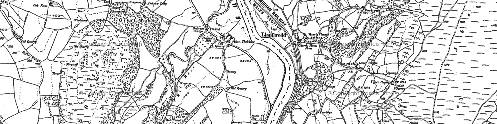Old map of Aberedw Hill in 1887