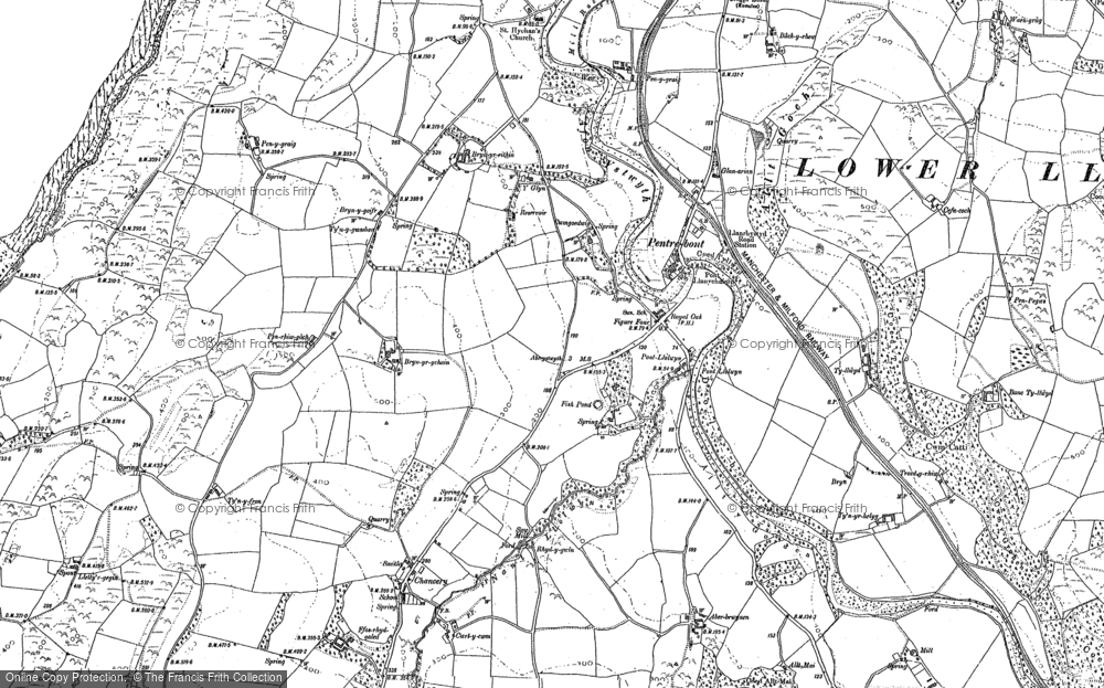 Old Map of Historic Map covering Abermad in 1904