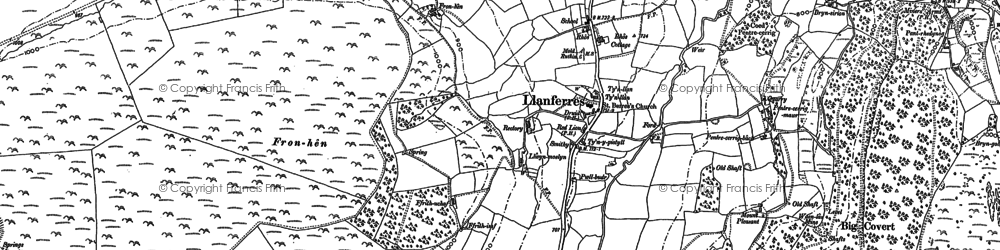 Old map of Llanferres in 1898