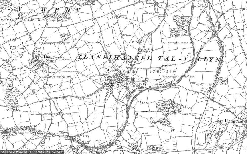 Old Map of Historic Map covering Afon Llynfi in 1886