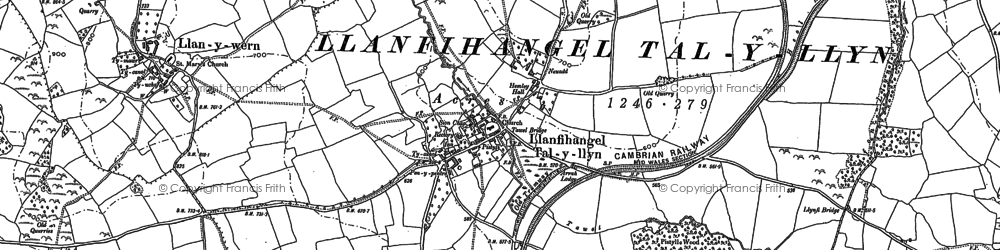 Old map of Afon Llynfi in 1886