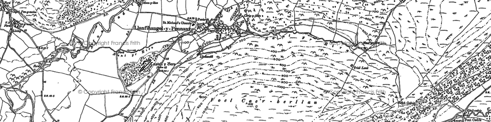 Old map of Llanfihangel-y-pennant in 1900