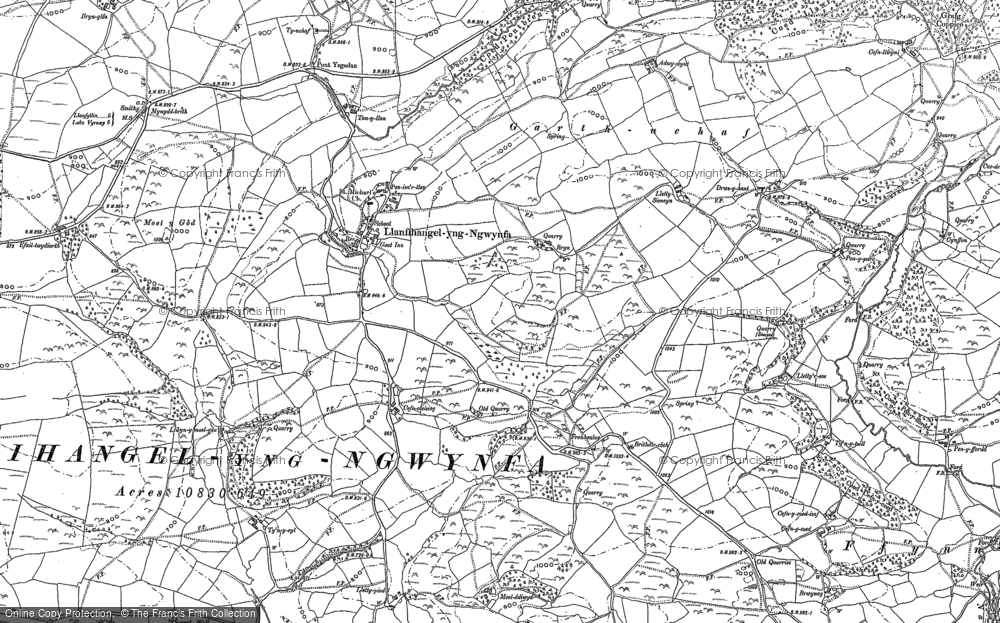 Old Map of Historic Map covering Adwywynt in 1885