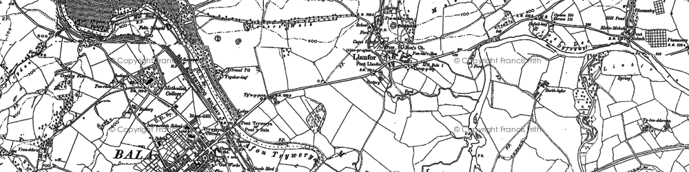 Old map of Llanfor in 1886