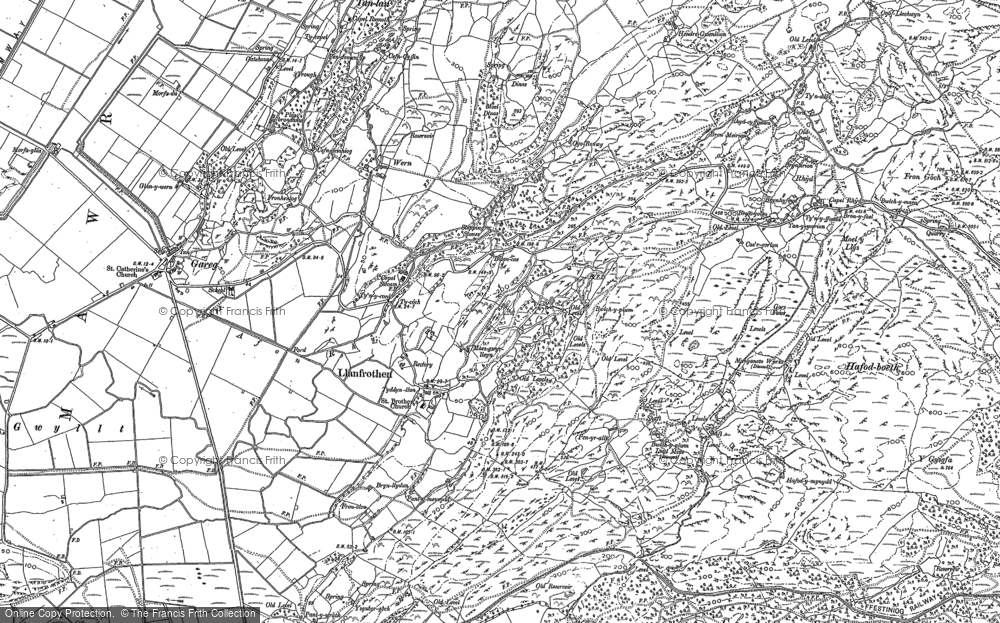 Old Map of Llanfrothen, 1899 in 1899