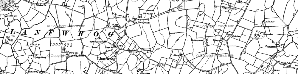 Old map of Llanfwrog in 1887
