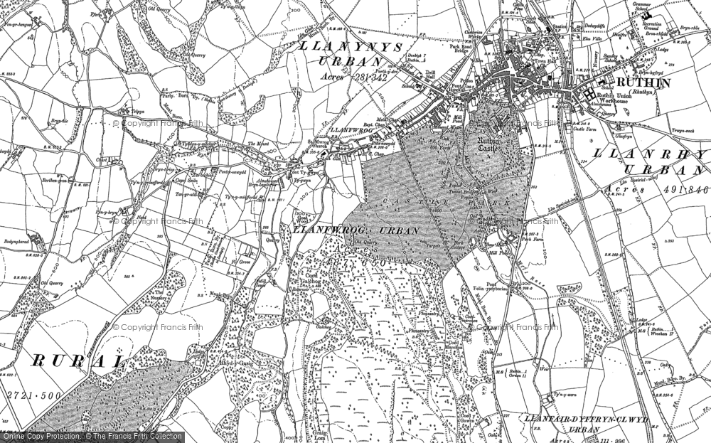 Old Map of Historic Map covering Aber-ddu in 1899