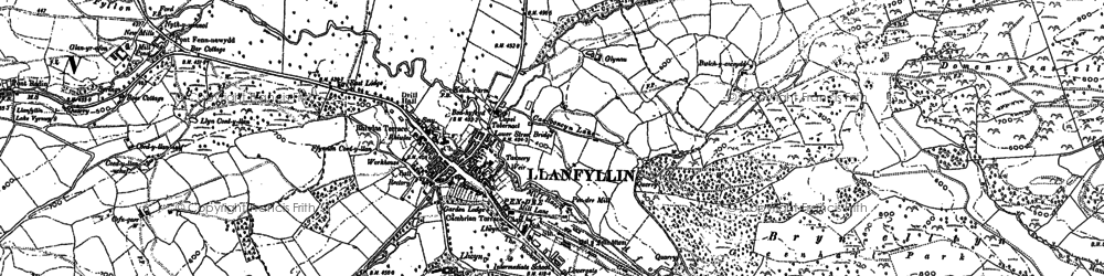 Old map of Llanfyllin in 1885