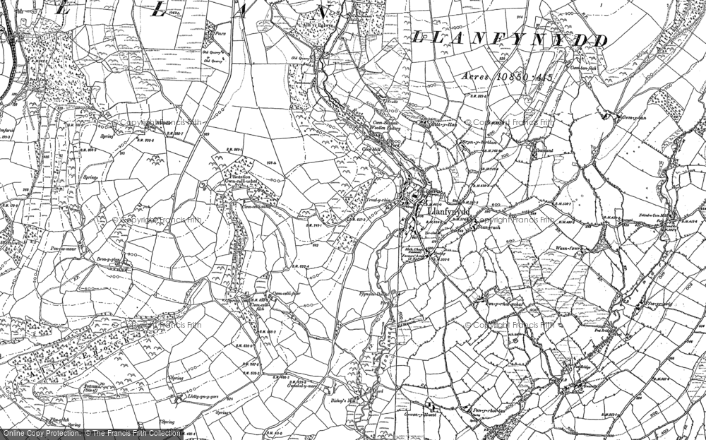 Old Map of Historic Map covering Afon Sannan in 1885