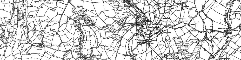 Old map of Afon Sannan in 1885