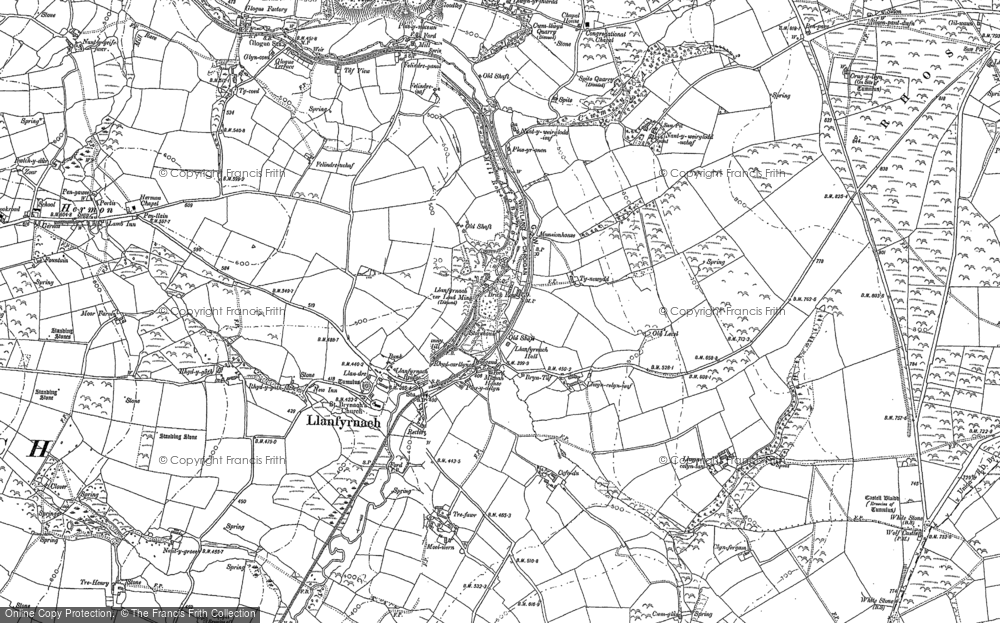 Old Map of Historic Map covering Afon Asen in 1905