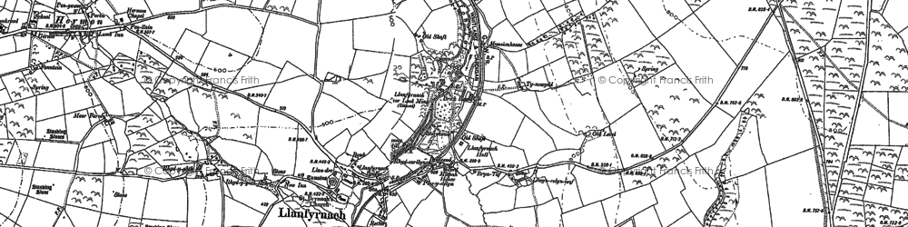 Old map of Afon Asen in 1905