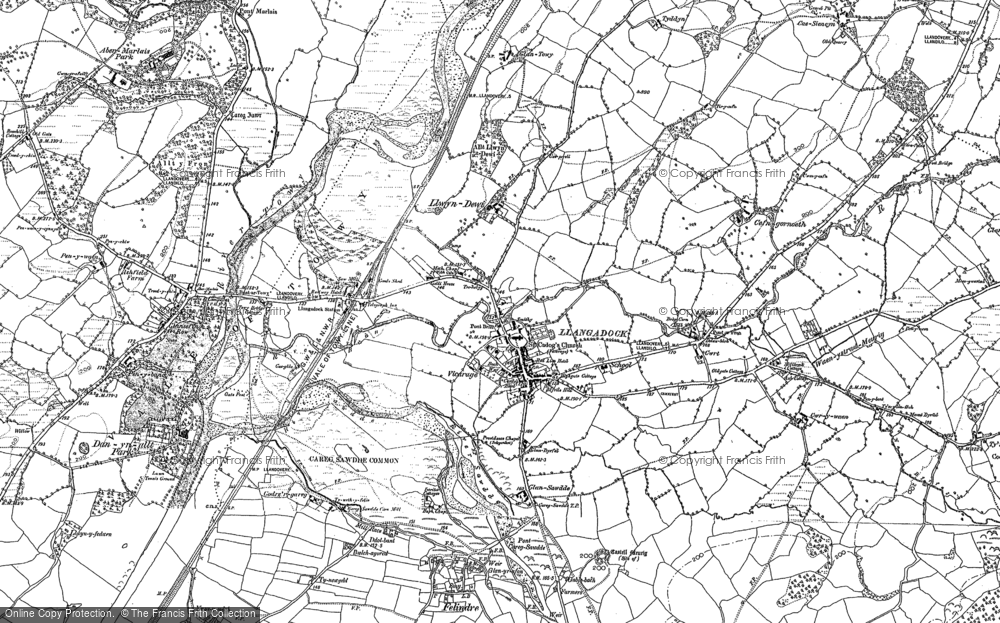 Old Map of Historic Map covering Aber-Marlais Pk in 1884