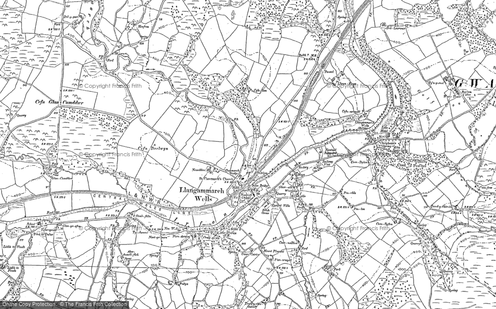 Old Map of Llangammarch Wells, 1887 in 1887