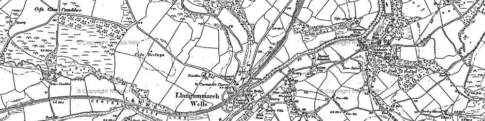 Old map of Llangammarch Wells in 1887