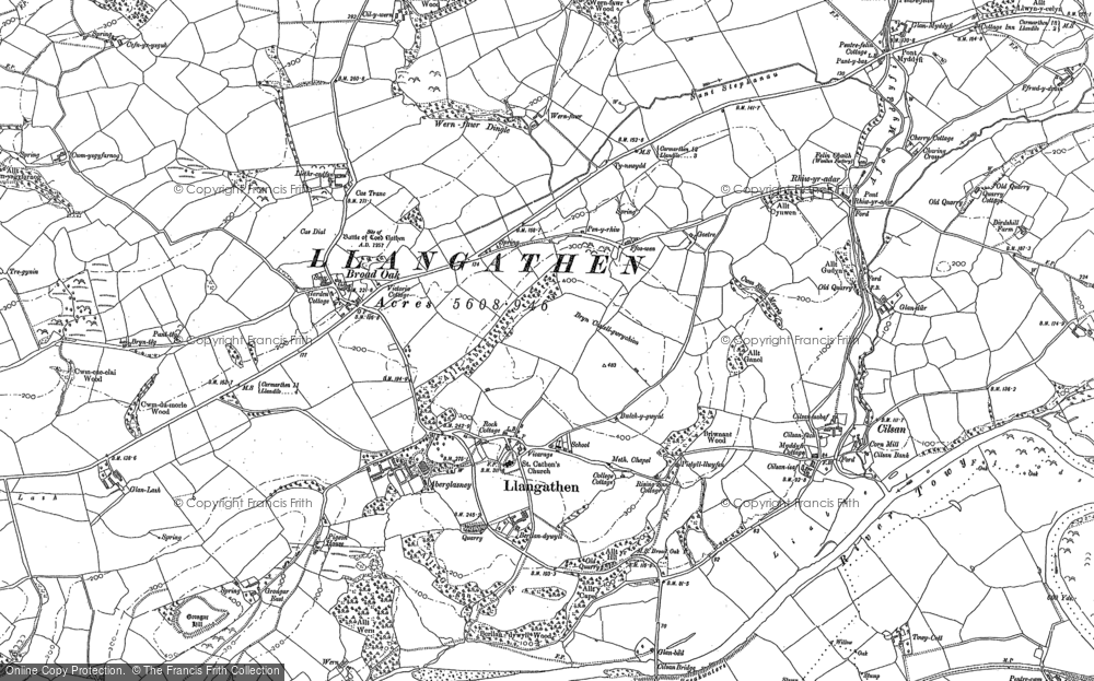 Old Map of Historic Map covering Aberglasney in 1885