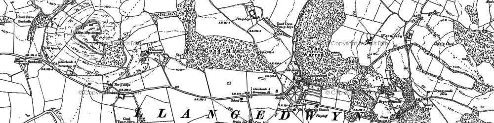 Old map of Llangedwyn in 1910