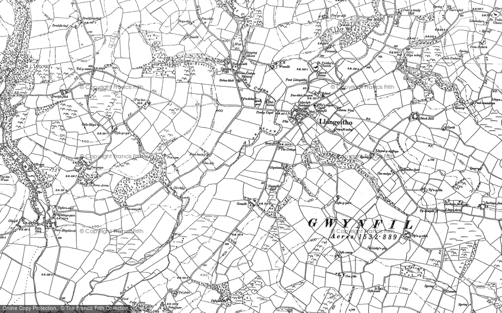 Old Map of Historic Map covering Aeron Dale in 1887