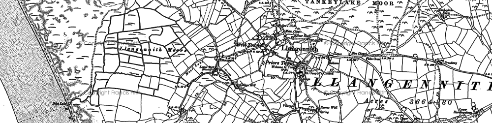Old map of Llangennith in 1896