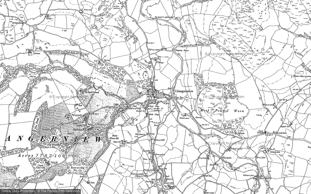 Old Map of Historic Map covering Afon Gallen in 1899