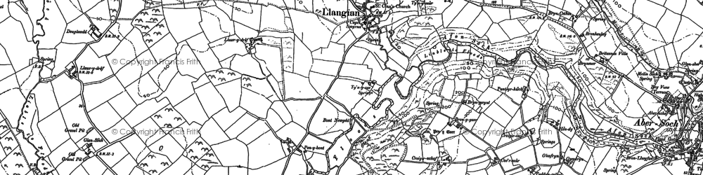 Old map of Llangian in 1888