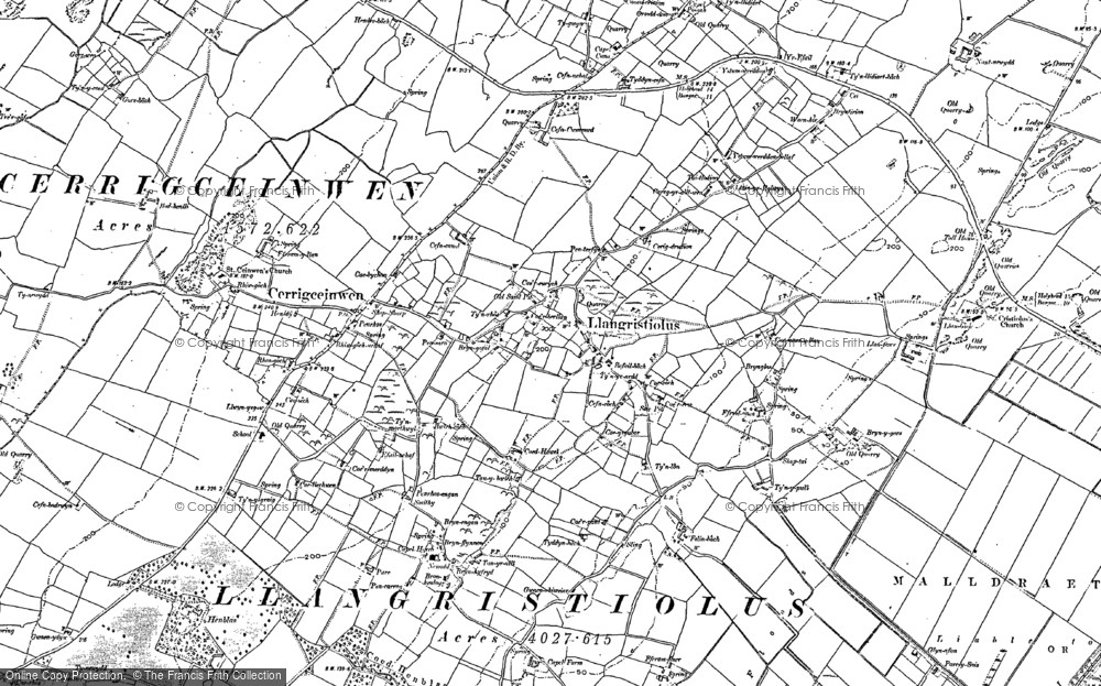Old Map of Historic Map covering Afon Cefni in 1887