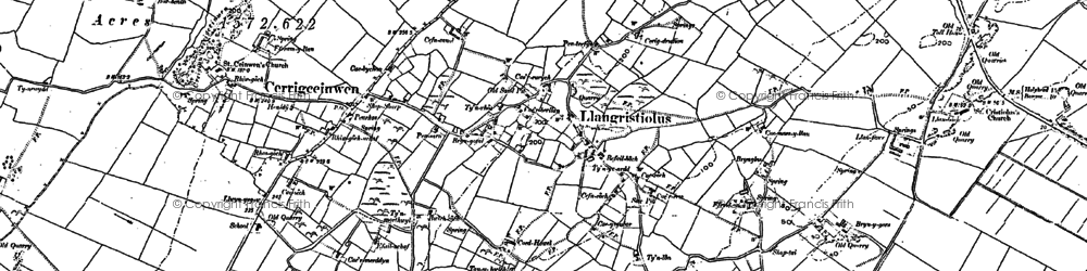 Old map of Afon Cefni in 1887