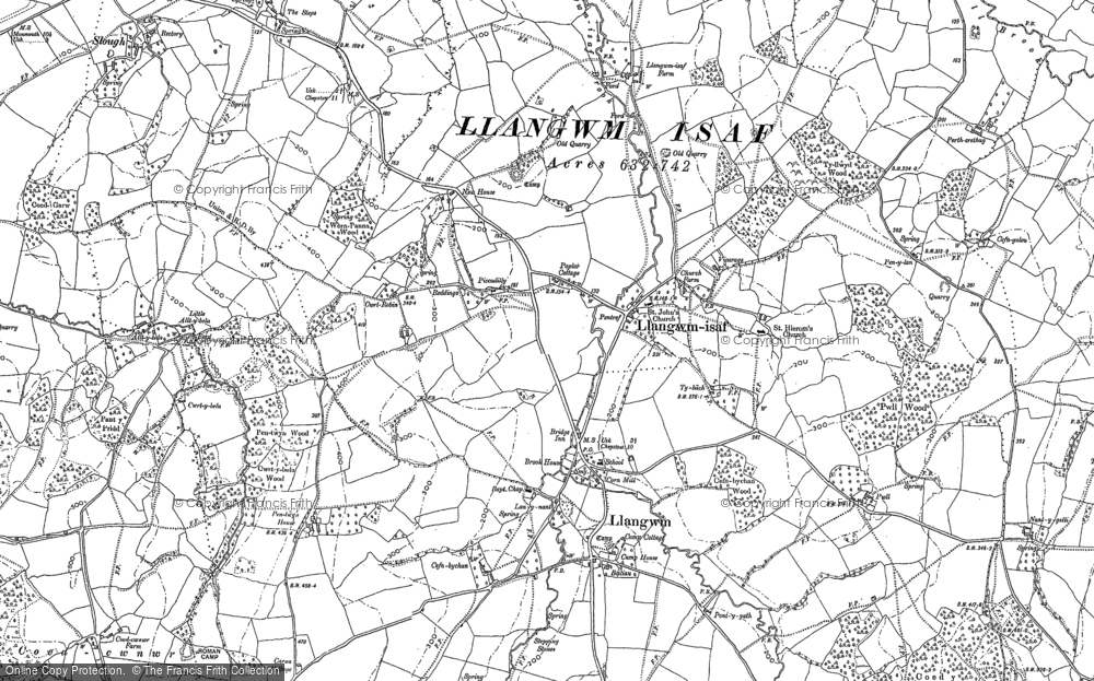 Old Map of Historic Map covering Allt-y-bela in 1899