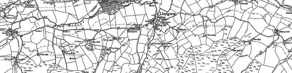 Old map of Ystrad Bach in 1899