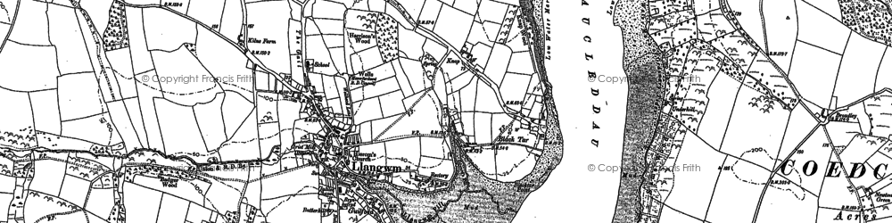 Old map of Llangwm in 1906