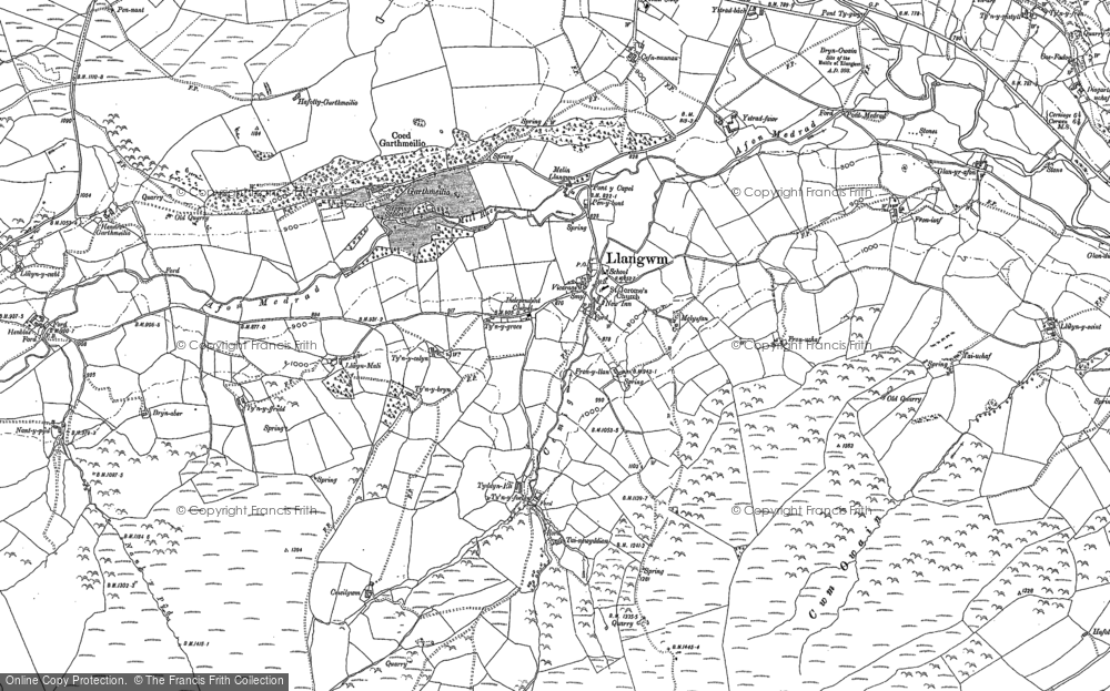 Old Map of Historic Map covering Afon Medrad in 1910
