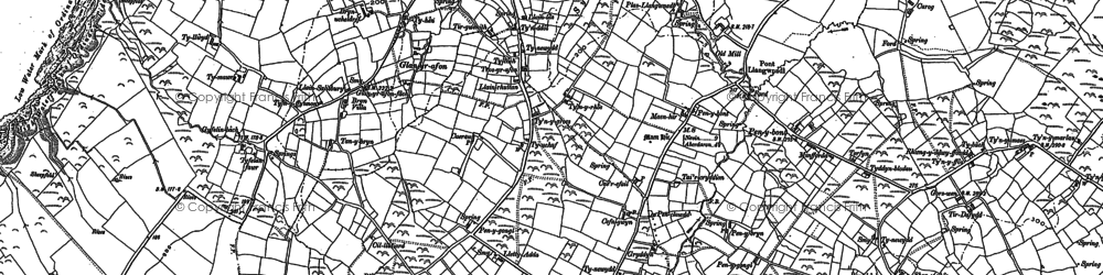 Old map of Llangwnnadl in 1888