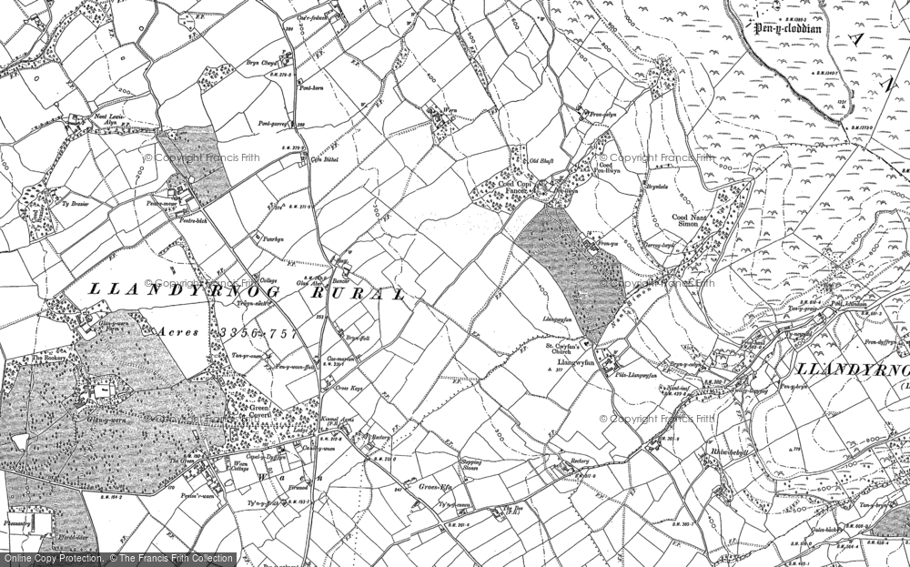 Old Map of Historic Map covering Bancar in 1910