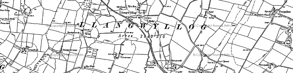 Old map of Anglesey/Ynysmôn in 1887