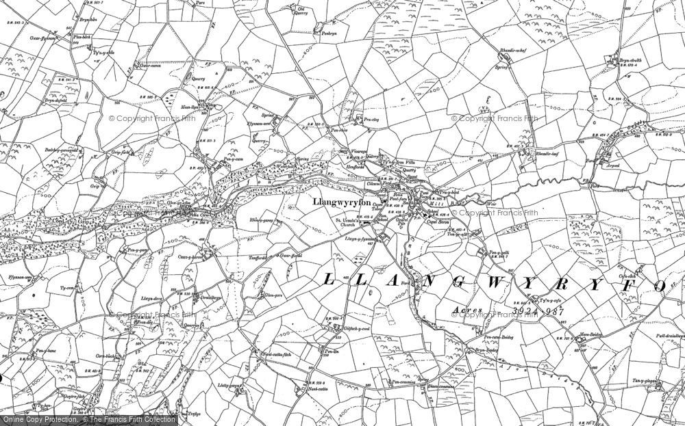 Old Map of Historic Map covering Afon Wyre in 1886