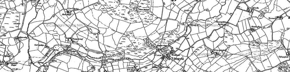 Old map of Ynys Creud in 1888