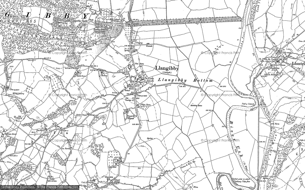 Old Map of Historic Map covering Ton in 1899