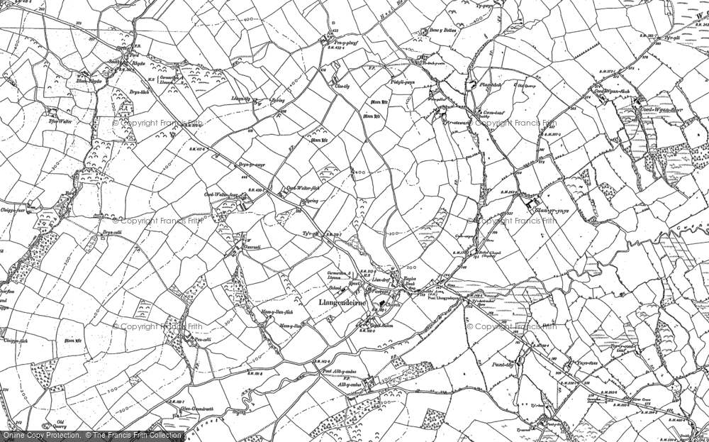 Old Map of Historic Map covering Alltycadno in 1887