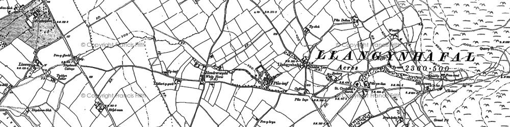 Old map of Hirwaen in 1910