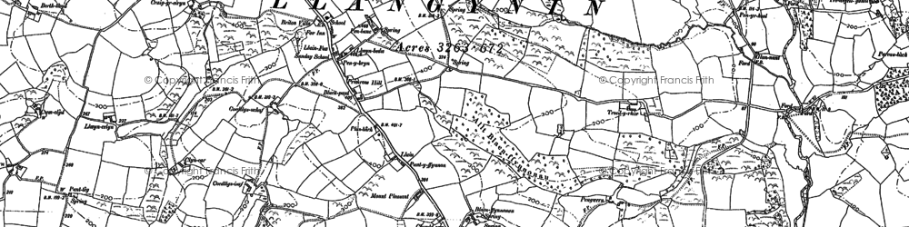 Old map of Bank y llain in 1887