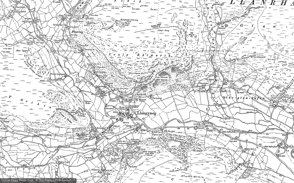 Old Map of Historic Map covering Afon Eirth in 1900