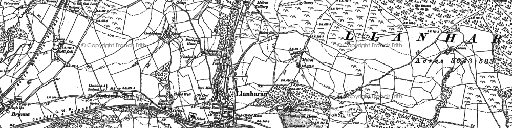 Old map of Llanharan in 1897